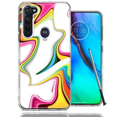 Motorola Moto G stylus Rainbow Abstract Design Double Layer Phone Case Cover