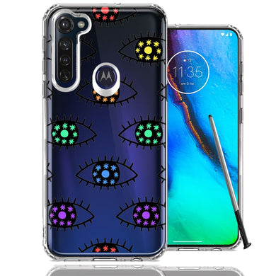 Motorola Moto G stylus Rainbow Evil Eyes Design Double Layer Phone Case Cover