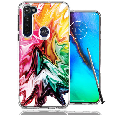 Motorola Moto G stylus Rainbow Flower Abstract Design Double Layer Phone Case Cover
