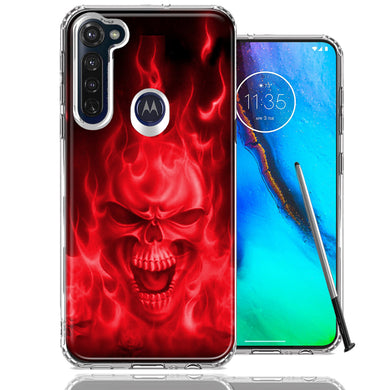 Motorola Moto G stylus Red Flaming Skull Design Double Layer Phone Case Cover