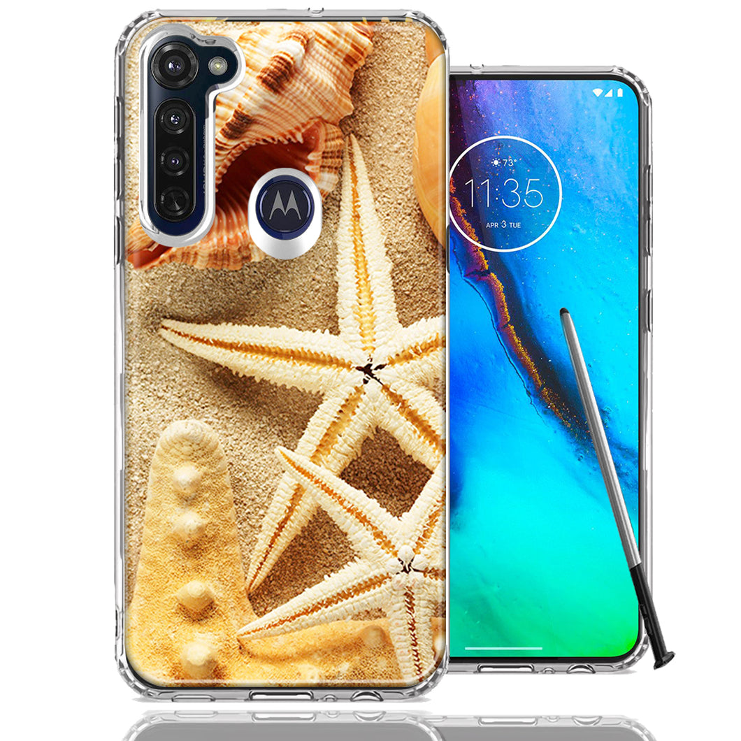 Motorola Moto G stylus Sand Shells Starfish Design Double Layer Phone Case Cover