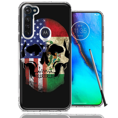 Motorola Moto G stylus US Mexico Flag Skull Double Layer Phone Case Cover