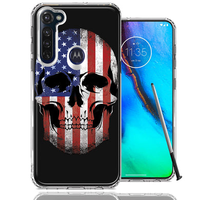 Motorola Moto G stylus US Flag Skull Double Layer Phone Case Cover