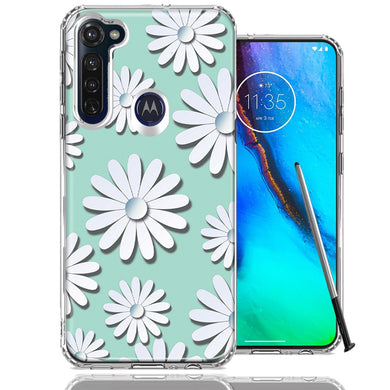 Motorola Moto G stylus White Teal Daisies Design Double Layer Phone Case Cover