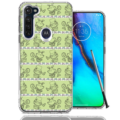 Motorola Moto G stylus Wonderland Hatter Rabbit Design Double Layer Phone Case Cover