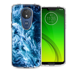 Motorola Moto G7 Power SUPRA Deep Blue Ocean Waves Design Double Layer Phone Case Cover