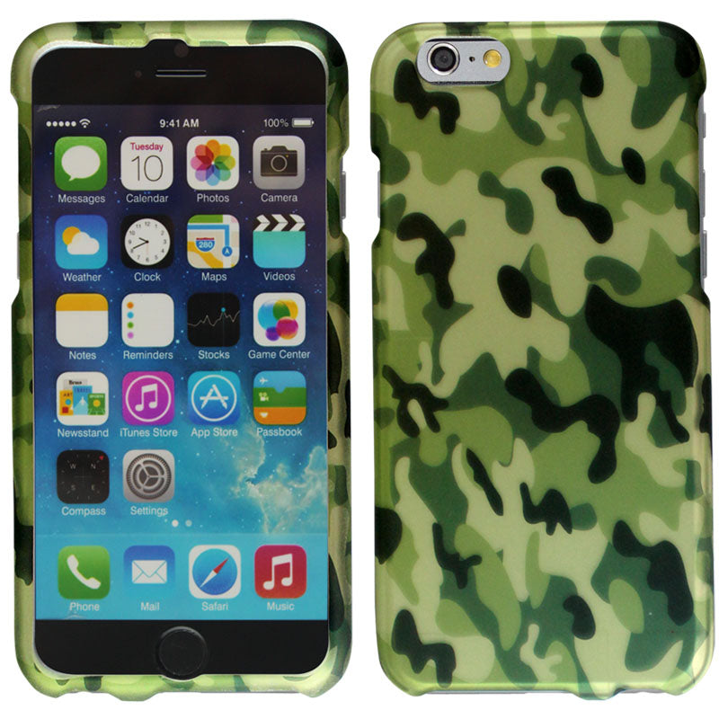 Apple iPhone 6 4.7 Green Camo Print Hard Cover Case