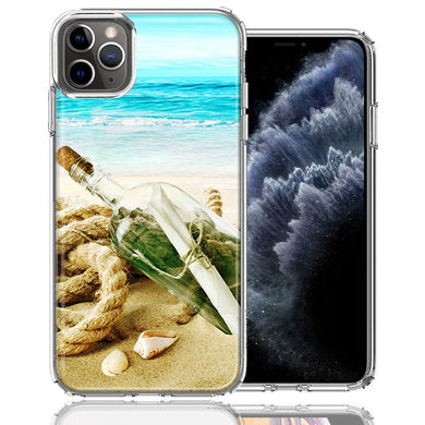 Apple iPhone 11 Pro Beach Message Bottle Design Double Layer Phone Case Cover