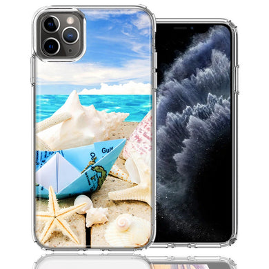 Apple iPhone 11 Pro Beach Paper Boat Design Double Layer Phone Case Cover