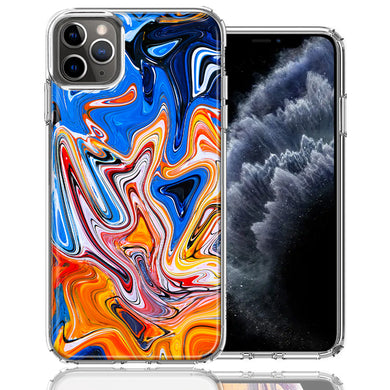 Apple iPhone 11 Pro Blue Orange Abstract Design Double Layer Phone Case Cover