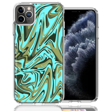 Apple iPhone 11 Pro Blue Green Abstract Design Double Layer Phone Case Cover