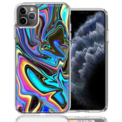 Apple iPhone 11 Pro Blue Paint Swirl Design Double Layer Phone Case Cover