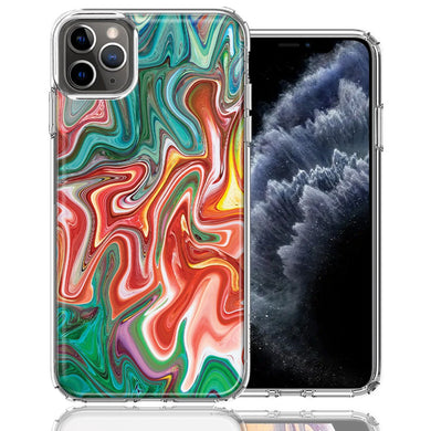 Apple iPhone 11 Pro Green Pink Abstract Design Double Layer Phone Case Cover