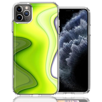Apple iPhone 11 Pro Green White Abstract Design Double Layer Phone Case Cover