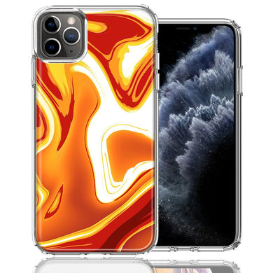 Apple iPhone 11 Pro Orange White Abstract Design Double Layer Phone Case Cover