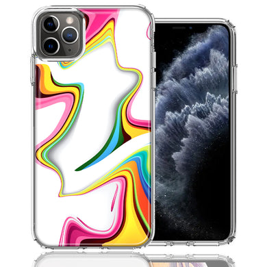 Apple iPhone 11 Pro Rainbow Abstract Design Double Layer Phone Case Cover