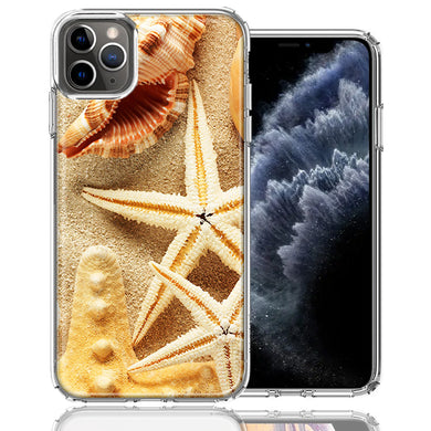 Apple iPhone 11 Pro Sand Shells Starfish Design Double Layer Phone Case Cover