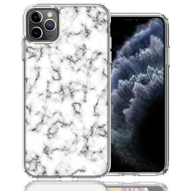 Apple iPhone 11 Pro White Grey Marble Design Double Layer Phone Case Cover