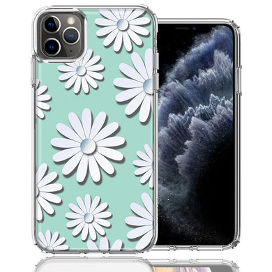 Apple iPhone 11 Pro White Teal Daisies Design Double Layer Phone Case Cover