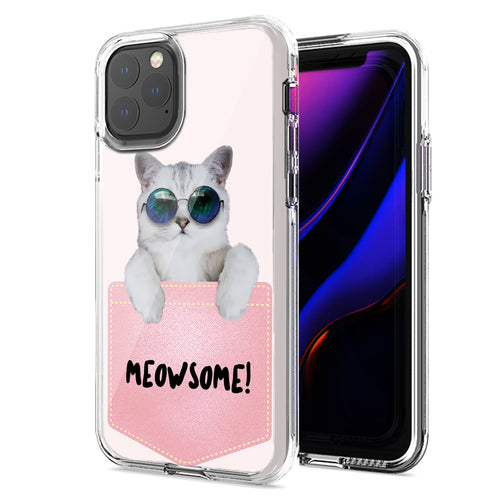 Apple iPhone 11 Pro Max Meowsome Cat Design Double Layer Phone Case Cover