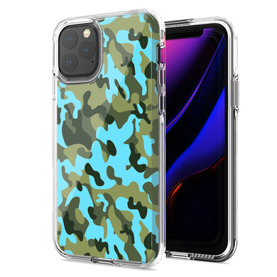 Apple iPhone 11 Blue Green Camo Design Double Layer Phone Case Cover