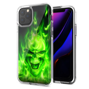 Apple iPhone 11 Green Flaming Skull Design Double Layer Phone Case Cover