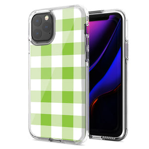 Apple iPhone 11 Pro Green Plaid Design Double Layer Phone Case Cover