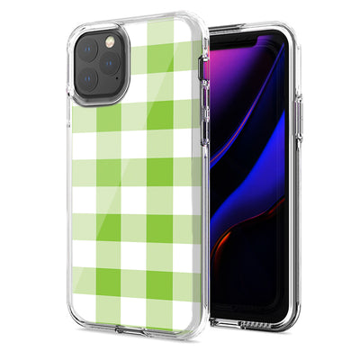 Apple iPhone 12 Mini Green Plaid Design Double Layer Phone Case Cover