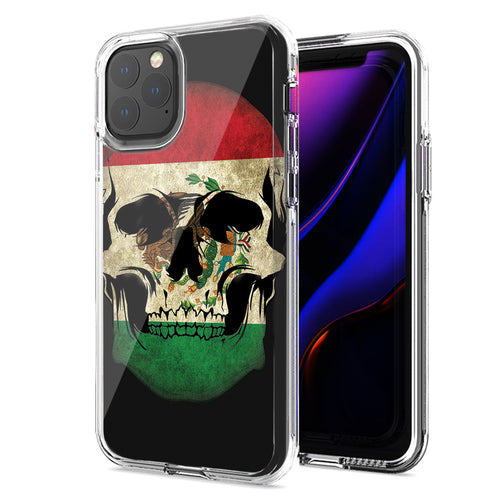 Apple iPhone 11 Pro Mexico Flag Skull Design Double Layer Phone Case Cover