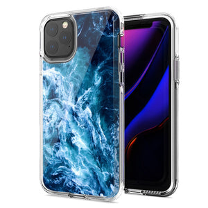 Apple iPhone 11 Pro Deep Blue Ocean Waves Design Double Layer Phone Case Cover