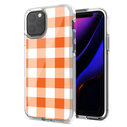 Apple iPhone 11 Pro Max Orange Plaid Design Double Layer Phone Case Cover