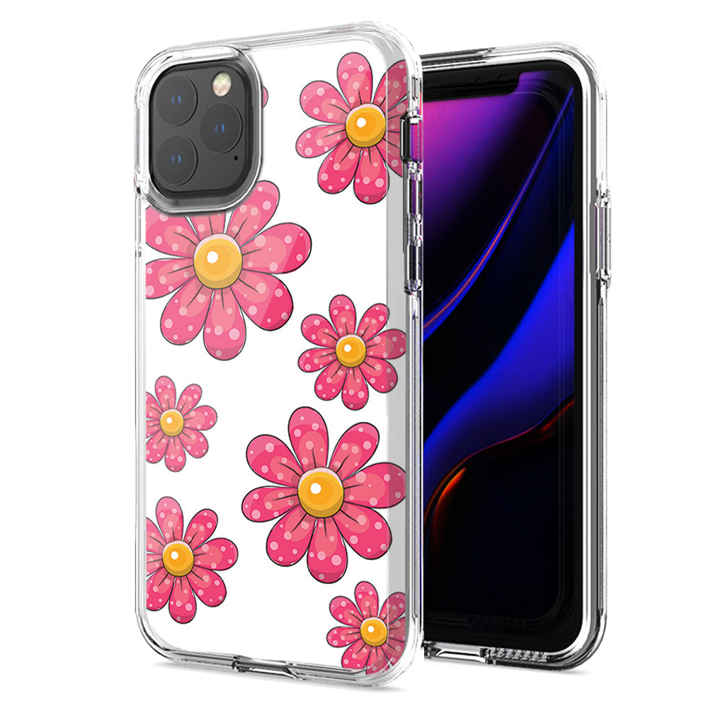 Apple iPhone 11 Pink Daisy Flower Design Double Layer Phone Case Cover
