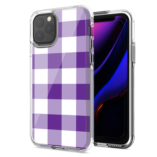 Apple iPhone 11 Pro Max Purple Plaid Design Double Layer Phone Case Cover