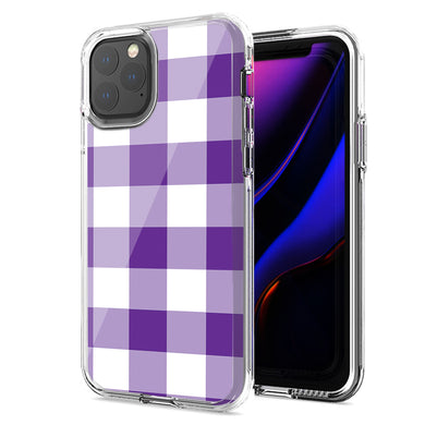Apple iPhone 12 Mini Purple Plaid Design Double Layer Phone Case Cover