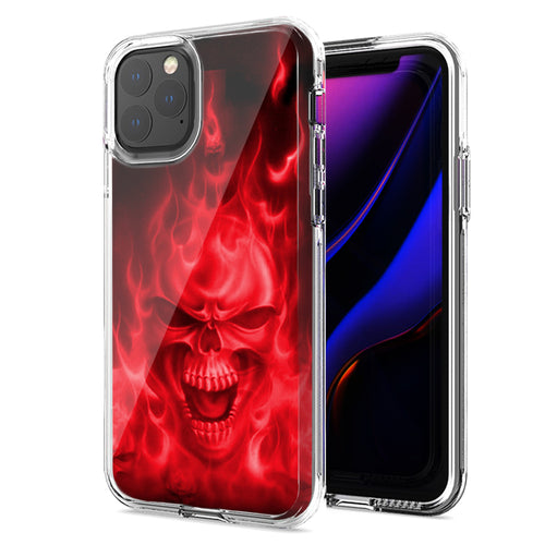 Apple iPhone 11 Pro Max Red Flaming Skull Design Double Layer Phone Case Cover