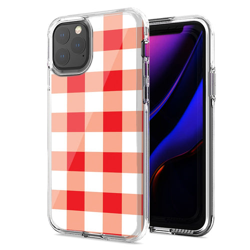 Apple iPhone 11 Pro Max Red Plaid Design Double Layer Phone Case Cover