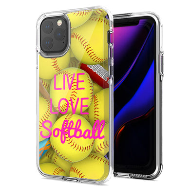 Apple iPhone 12 Mini Love Softball Design Double Layer Phone Case Cover