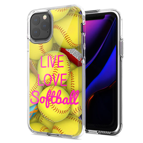 Apple iPhone 11 Pro Max Love Softball Design Double Layer Phone Case Cover