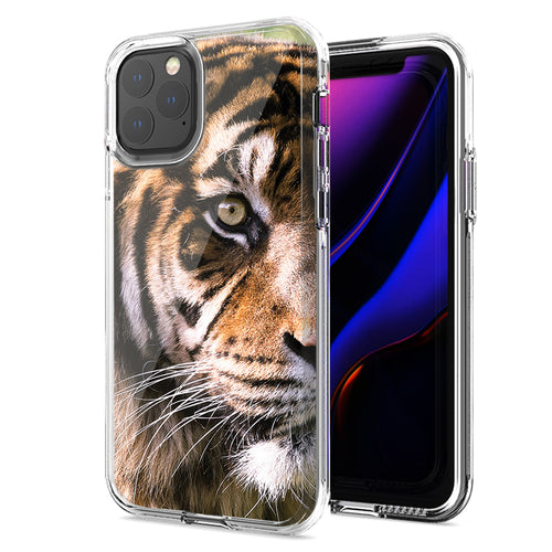 Apple iPhone 11 Pro Tiger Face 2 Design Double Layer Phone Case Cover