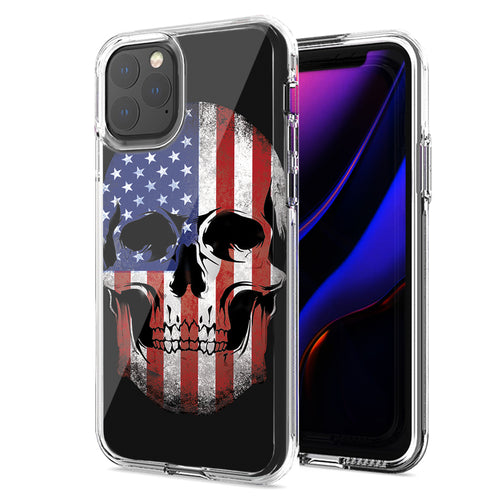 Apple iPhone 11 US Flag Skull Double Layer Phone Case Cover