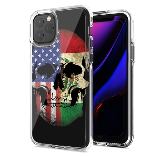 Apple iPhone 11 Pro Max US Mexico Flag Skull Double Layer Phone Case Cover
