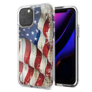 Apple iPhone 11 Pro Max Vintage American Flag Design Double Layer Phone Case Cover