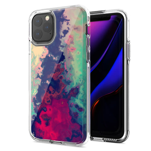 Apple iPhone 11 Pro Max Watercolor Paint Design Double Layer Phone Case Cover