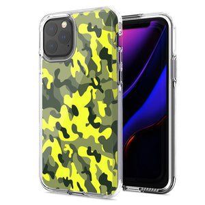 Apple iPhone 11 Pro Max Yellow Green Camo Design Double Layer Phone Case Cover