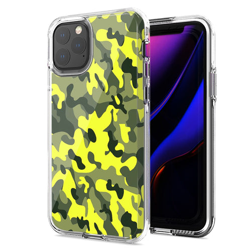 Apple iPhone 11 Yellow Green Camo Design Double Layer Phone Case Cover
