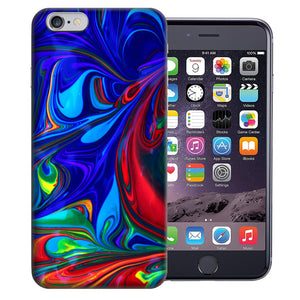 "Apple iPhone 7 & iPhone 8 4.7"" Blue Red Oil Paint Design TPU Gel Phone Case Cover"