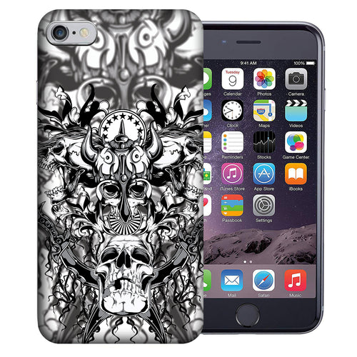 Apple iPhone 7 / 8 4.7 Inch Custom UV Printed Design Case - Viking Skulls Design Cover