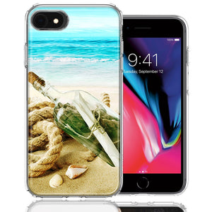 Apple iPhone 7/8/SE Beach Message Bottle Design Double Layer Phone Case Cover