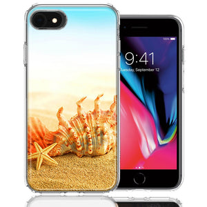 Apple iPhone 7/8/SE Beach Shell Design Double Layer Phone Case Cover