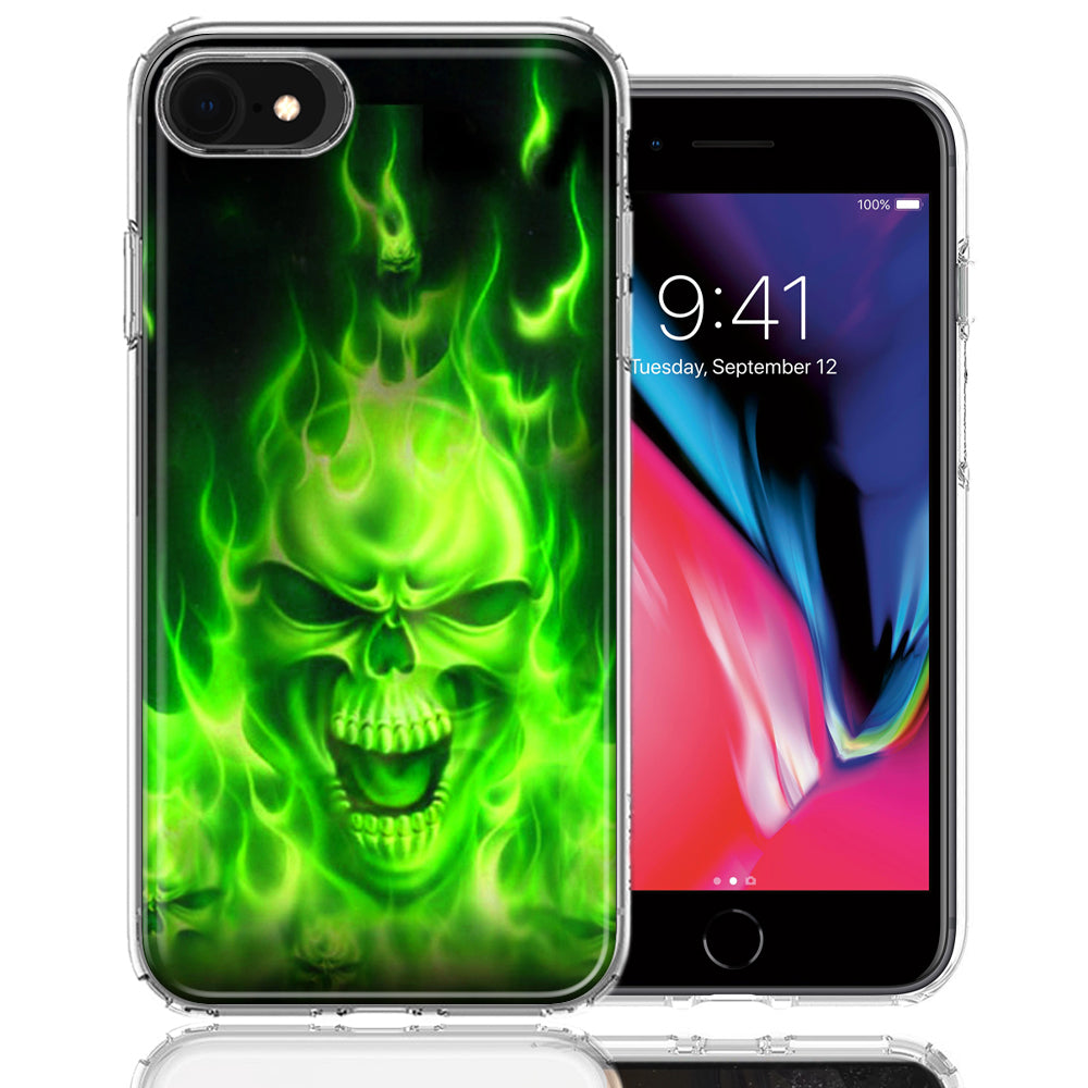 Apple iPhone 7/8/SE Green Flaming Skull Design Double Layer Phone Case Cover